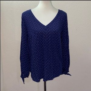 Anthropologie Maeve Blue Polka Dot Size XS Blouse